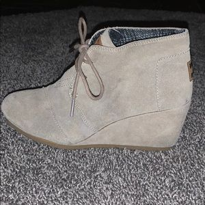 TOMS beige lace up wedge booties